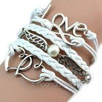 Item Type: Bracelet Color: White Design: LOVE, Wings, Hearts Material: Alloy + Korean Velvet + Wax C