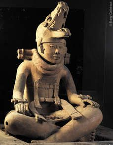 Statue of a dignitary, Vera Cruz culture, 200-500 AD ~ Scientists have discovered that terracotta recipients with a lid were filled with a dark brown powder: the relics of the chocolate drink that was offered to the deceased