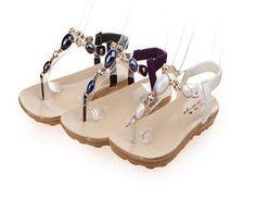 Sandalo donna con gemme elegante tacco basso estate 2015
