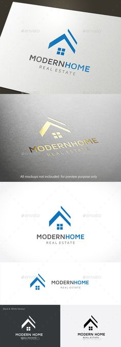 Modern Home: Building Logo Design Template by LayerSky. Real Estate Business Cards, Real Estate Logo, Web Design, Best Logo Design, Logo Design Template, Logo Templates, Business Logo, Business Card Design, Logo Branding