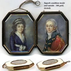 Superb Museum Portrait Miniature Pair, Red Coat Officer & Bride, 10k Gold Etui, Frame or Case