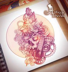 #antiquefreak #sketch #graphics #steampunk #vintage #drawing #black #art #tattooflash #skull #guitar #mechanics #gears #tophat #bird #rose #flowers #jewelery #beads