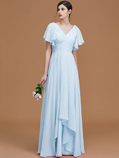 A-Line Princess V-neck Short Sleeves Floor-Length Ruched Chiffon Bridesmaid  Dresses be3c3f444648