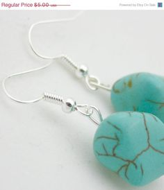 ON SALE Silver & Natural Turquoise Dangle by SoJewelrySoYou, $4.50 #sale #turquoise #earrings #jewelry