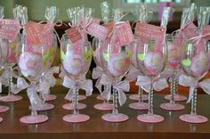 Wedding Wine Glass Bridal Party, Pretty in Pink Theme,  Hand Painted Favor Shower Gift (15.00 each). $15.00, via Etsy.