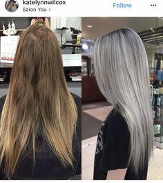 Silver Hair Highlights, Silver Blonde Hair, Blonde Hair Looks, Ash Grey Hair, Silver Platinum Hair, Ashy Blonde Hair, Ash Hair, Silver Ombre, Lilac Hair