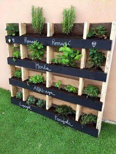 Decoracion Hogar - Comunidad - Google+ Pallets Garden, Wood Pallets, Easy Diy, Herb Garden, Outdoor Structures, Herbs, Backyard, Plants, Home Decor