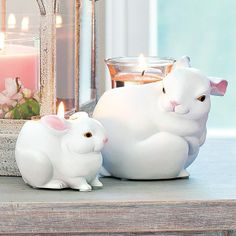 Nature's Love Mama and Baby Bunnies Precious pairing of Mama Bunny and her little one. Set includes one tealight holder and one votive holder. Matte-finished, weather-resistant resin.  www.partylite.biz/cndlluvrs