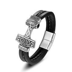 Bracelet Viking Mjolnir Vikings, Jewelry Gifts, Jewelry Bracelets, Viking Shop, Bracelet Viking, Mens Leather Accessories, Thors Hammer, Punk Fashion, Bracelet Designs