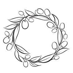 Simple Flower Drawing, Sunflower Drawing, Laura Lee, Branch Drawing, Olive Wreath, Doodle Frames, Paint Vector, Wreath Drawing, Hand Drawn Flowers