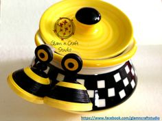 Yellow and Black Quilled Jhumka  https://www.facebook.com/glamncraftstudio