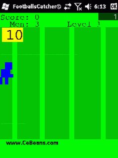 FootballsCatcher©  The object of this game is to use the screen or joypad and direct your football character to catch the footballs before they reach the 0 line. You get 10 points for each one you catch and 100 bonus and next round when you catch all ten. Free man every round after five.