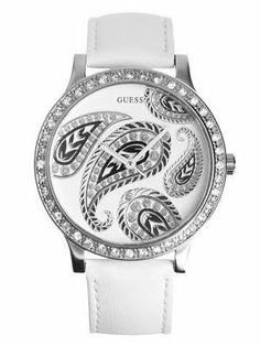 NEW GUESS Crystals White Leather Womens Watch