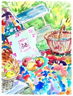 Autumn Painting. Season painting Fall. Room decor apples. Home decor autumn art. Original watercolour wall art. Kitchen art. Gift for her