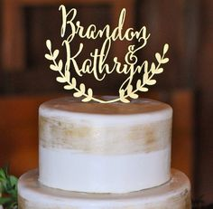 Rustic wedding cake topper, personalized cake topper, custom rustic cake topper  Please write the NAMES for the cake topper in the notes