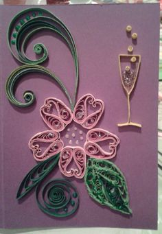 Congratulation card; flower by quilling