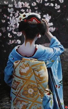 The Scarlet Fringe (Shirakawa) by Phil Couture Oil ~ x Geisha Japan, Geisha Art, Japanese Geisha, Japanese Kimono, Kyoto Japan, Kabuki Costume, Dining Room Art, Japanese Outfits, Japan Art