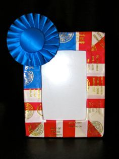 Photo Frame dog show ribbons. Red white and blue, Independence Day, 4th of July. Vintage AKC. Horse, dog, 4H, track, swimming, pageants. Ribbon display. Rosettes and awards. Ribbon quilting. Agility obedience training conformation. Repurposed vintage. Upcycle. Handmade.