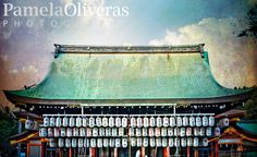 Kyoto Japan roof shrine temple lanterns detail, texture fine art print, travel photography by TheWaveTree on Etsy