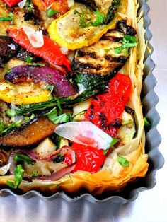 Grilled vegetables in phyllo crust