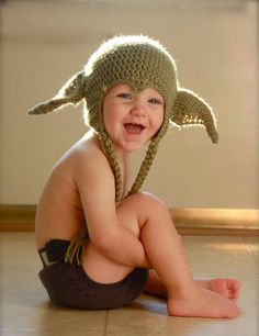 Knitted or crocheted Yoda winter hat