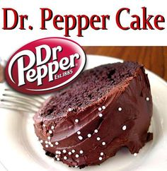 Dr. Pepper cake Ingredients: 1 box yellow cake mix, 1 box instant vanilla pudding, 4 eggs. 3/4 cup oil 1 10 oz. can of Dr. pepper 3/4 cups walnuts (Chopped)  Glaze: 1 cup powdered sugar and 1 tsp vanilla and enough Dr. pepper to make a thin glaze. How to make it Turn oven to 350 degrees. Grease a bundt pan. Mix all ingredients together and pour into bundt pan. Bake for one hour. After cake cools , pour glaze over the top. Cut and serve.