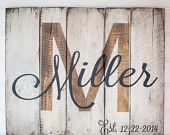 White, Wood, and Black Last name with est. date rustic, wooden sign made from reclaimed pallet wood