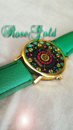 Green geneva platinum watch for Summer 2015 Perfetto per l'estate orologio verde con quadrante multicolor Shop: https://m.facebook.com/RoseGoldBijoux