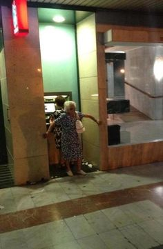 Always take backup to the ATM... Gosh I love old people. (Like she would be ANY help!)
