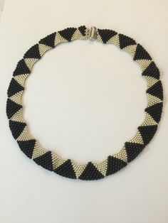 Silver and Black Beaded Collar Necklace With Two by ChantalJewelry