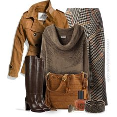 """""""Fall Outfit - Midi Skirts & Knee-High Boots"""" by celinecucci on Polyvore"""