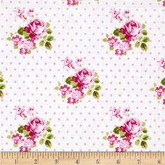 Designed by Tanya Whelan for Free Spirit, this cotton fabric is perfect for quilting, apparel and home decor accents. Colors include  green, pink and white.