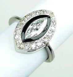 Art Deco Marquise Diamond & Black Onyx Ring. by greenhilljewelers, $3800.00