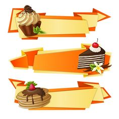 Color pastry decoration banner vector graphics