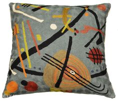 "Miro-beach-cushion-cover Reminiscent of modern abstract artist, Joan Miro's ""Ladder of Escape,"" this fine article of Kashmiri hand-crafted embroidery is eye-catching as well as delectable to the touch. Kashmiri hand crafters  produce the most exquisite chain stitch needlework on the planet. The hand-dyed, Kashmiri wool thread is embroidered into discernable swirls of softness, each as unique as you are. No two cushions are alike. Chain stitch is a finer form of crewel embroidery."
