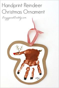 Handprint Reindeer |Featured with 33+ Handmade Christmas Ornaments to Make with Your Kids! {OneCreativeMommy.com}