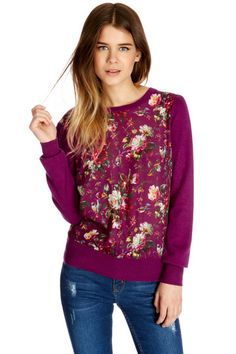 Rose Print Woven Front Top $72