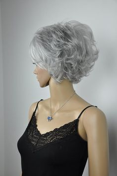 fancy silver gray short wigs for women hair wig Grey Curly Hair, Black Hair Dye, Grey Wig, Short Grey Hair, Short Hair Wigs, Short Wavy, Curly Hair Styles, Natural Hair Styles, Short Pixie