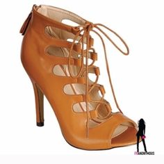 """HotCamel Lace Up Peep Toe Booties 7 Wow! Perfect Fall, Spring transition shoe and so fabulous! Vegan camel leather and zip up back for easy on and off. Laces for adjusting width and fit. They are hot! 4.5"""" heel. Extra heel taps. New in box. Size 7 Eye Candie Shoes Ankle Boots & Booties"""