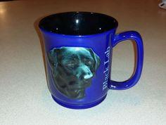 Encore Paw Prints Black lab Labrador Dog Raised Coffee Mug RARE