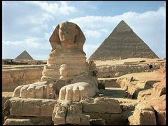 """17. Great Pyramids (Menkaura, Khafre, Khufu) and Great Sphinx. Giza, Egypt. Old Kingdom, Fourth Dynasty c.2500-2490 B.C.E. Cut limestone *2 images """"this one """"Great Pyramids w Sphinx"""""""
