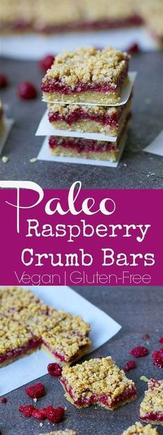 Paleo Raspberry Crumb Bars Three perfect layers of deliciousness that make for a yummy breakfast, snack or dessert! You'll love these Raspberry Crumb Bars that are full of nutrients and flavor. Paleo, Grain-Free, and Vegan, but no one will ever know! Desserts Végétaliens, Desserts Sains, Gluten Free Bars, Gluten Free Desserts, Dairy Free, Paleo Bars, Healthy Bars, Healthy Shakes, Paleo Dessert