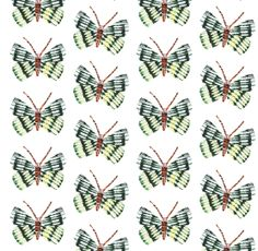 Yellow butterfly print, repeat pattern by Sarah Millin