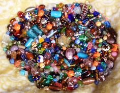 HOT 1////2 Pound Mixed Colors Assorted Lampwork Glass Beads WHOLESALE Bulk Lot