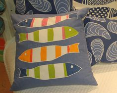 Kate Nelligan's Picket Fish Canvas Pillow