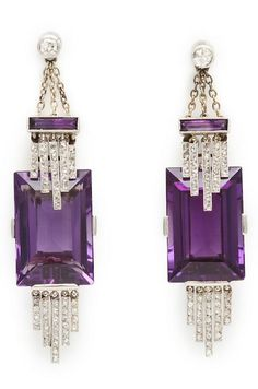 Antique Amethyst And Diamond Pendant Earrings Mounted In Platinum - English c.1915 - A La Vieille Russie