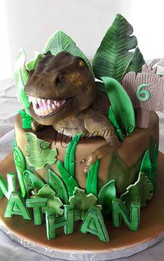 Dinosaur Birthday Cakes, Dinosaur Cake, Dinosaur Party, Kung Fu Panda Cake, Panda Cakes, T Rex Cake, Dino Cake, Park Birthday, Cake Decorating