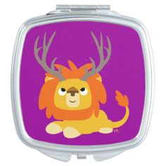 Cute Cartoon Antlered Lion Compact Mirror by Cheerful Madness!! #compact #mirror #vanitymirror #cheerfulmadness #antlers #lion #cartoon#kawaii #cute #illustration #gifts #ForHer #zazzle