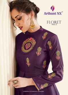 ff09f82d52 Arihant NX Floret Vol 5 Designer Embroidered Satin Silk Readymade Gown  Kurtis Collection at Wholesale Rate