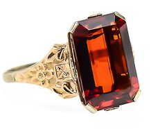 Fanfare - Garnet & Gold in a Vintage Ring